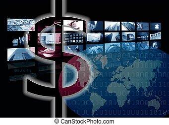 multiple, business, image, écran, dollar, constitué