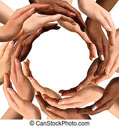 multiracial, confection, cercle, mains