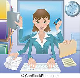 multitâche, affaires femme, illustration