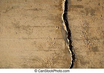 mur, béton, fissure