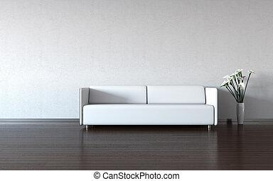 mur, blanc, divan, vase, minimalism: