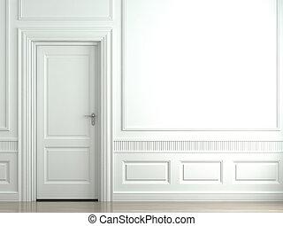 mur, blanc, porte, classique