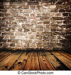 mur, bois, brique, grunge, plancher
