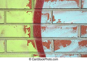 mur, brique, graffiti, coloré
