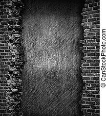 mur, brique, grunge, fond