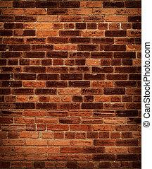 mur, brique, vieux, rouges