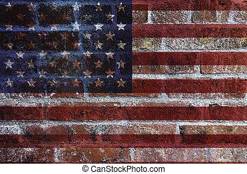 mur, drapeau, brique, fond, usa