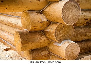mur, pays, sous, bois, construction, maison
