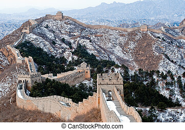 mur, pendant, grand, hiver