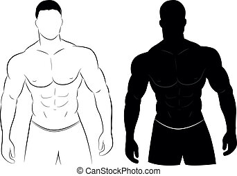 muscle, silhouette, homme