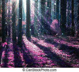 mystérieux, fantasme, vieux, forêt, paysage.