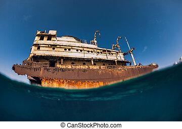 naufrage, bleu, arrecife, océan, vieux, lanzarote, bateau