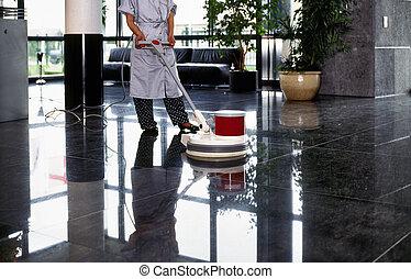 nettoyeur, femme, plancher, uniforme, bonne, adulte, couloir, passe, nettoyage