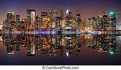 new york, manhattan, panorama, ville