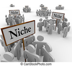 niches, niche, autour de, gens, beaucoup, groupes, signes, clustered