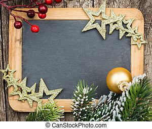 noël, hiver, espace, bois, vendange, concept., vide, arbre, encadré, fetes, texte, decorations., branche, tableau noir, copie, ton
