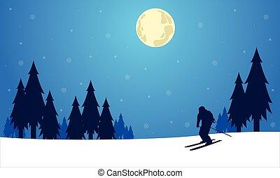 noël, skieur, silhouette, hiver, gens