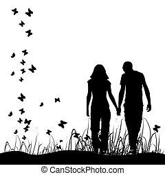 noir couple, silhouette, pré