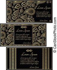 noir, ensemble, cartes, invitation