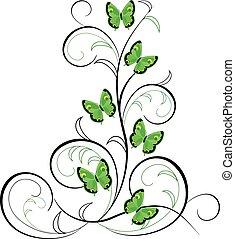 noir, papillon, flourishes