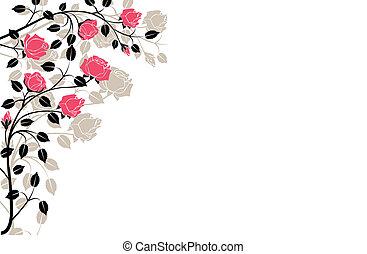 noir, rose, flourishes