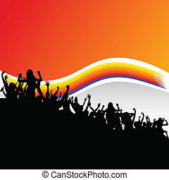 noir, silhouette, groupe, fête, gens