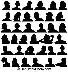 noir, tête, vecteur, silhouette, gens