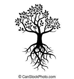noir, vecteur, arbre, racines