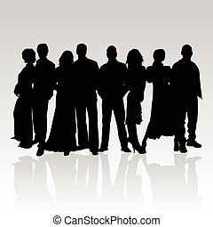 noir, vecteur, silhouette, gens
