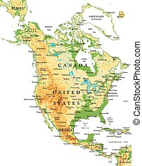 nord, america-physical, carte