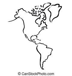 nord, carte, amérique, sud