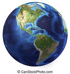 nord, d, globe, rendering., amériques, réaliste, 3, arrière-plan., la terre, vue., blanc, sud