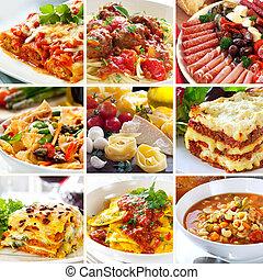 nourriture, collage, italien