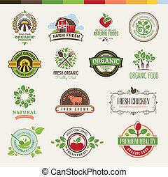 nourriture, ensemble, organique, insignes