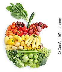 nourriture saine, pomme, bite: