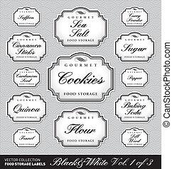 nourriture, stockage, étiquettes, vol1, (vector)