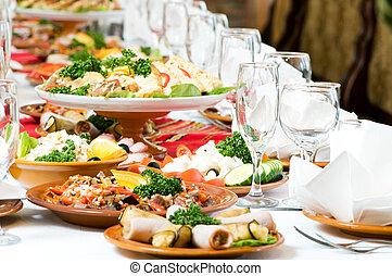 nourriture, table, décoration, ensemble, restauration