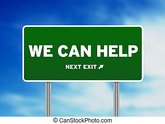 nous, aide, -, signe, vert, boîte, route