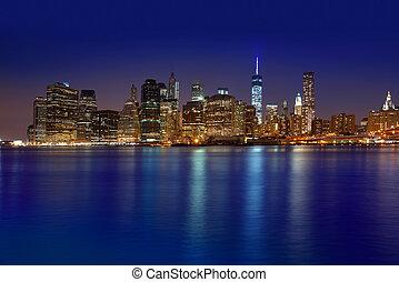 nous, horizon, coucher soleil, york, nyc, nouveau, manhattan