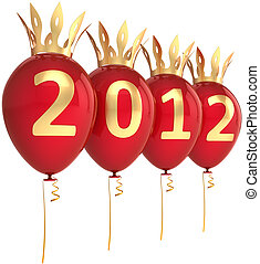 nouveau, 2012, année, ballons, heureux
