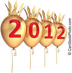 nouveau, 2012, ballons, doré, année