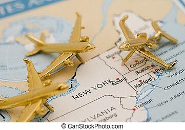 nouveau, aller, york, avions