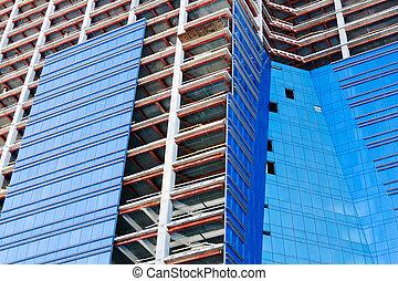 nouveau, bureau, construction, urbain, bâtiment., glazing., haut-ascension, center., développement