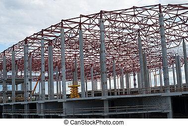 nouveau, construction, bâtiment, cadre, site.