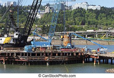 nouveau, construction, bridge., site