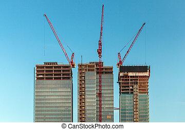 nouveau, construction, gratte-ciel