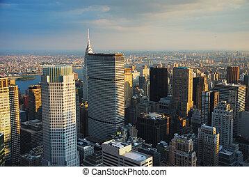 nouveau, coucher soleil, york, ville