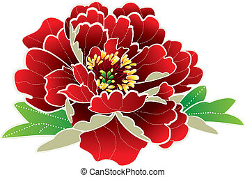 nouveau, fleur, chinois, année