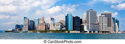 nouveau, horizon, ville, york, panorama