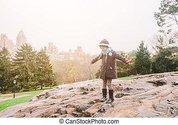 nouveau, petite fille, parc, adorable, york, central, ville